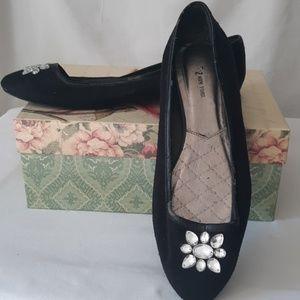 Shoes - Rhinestone Slip-On Black Flats sz 10